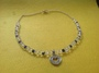 Navy Blue Crystal and Crystal Necklace